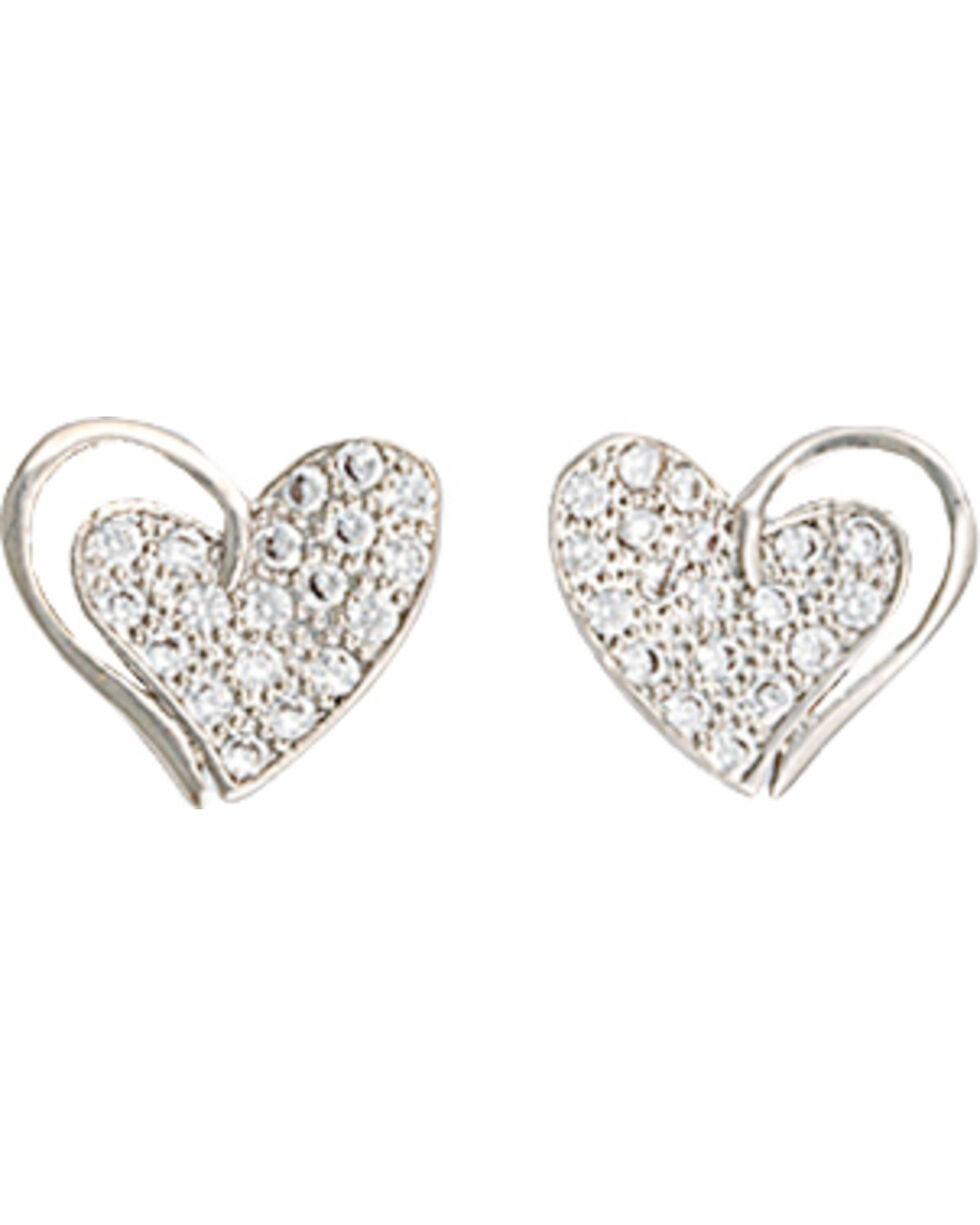 Montana Silversmiths Women's Heart Print Earrings , Silver, hi-res