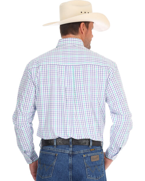 Wrangler Men's Purple George Strait Small Plaid Shirt , Purple, hi-res