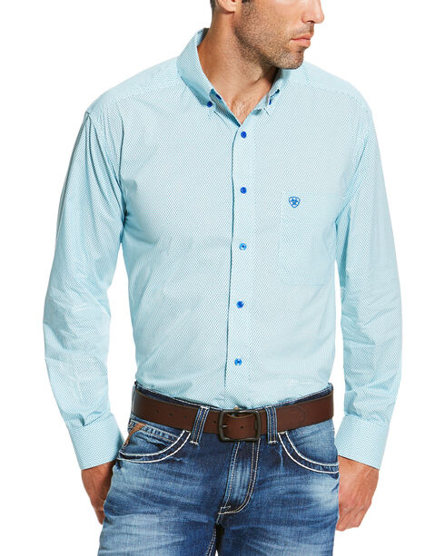 Ariat Men's Solid Button Down Long Sleeve Shirt, Turquoise, hi-res
