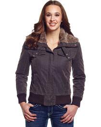 Cripple Creek Women's Zip Front Aviator Jacket with Faux Fur Collar, Green, hi-res
