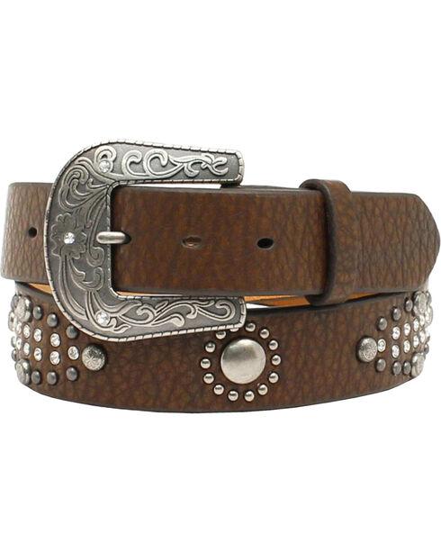 Nocona Belt Co. Women's Studded Leather Belt, Brown, hi-res