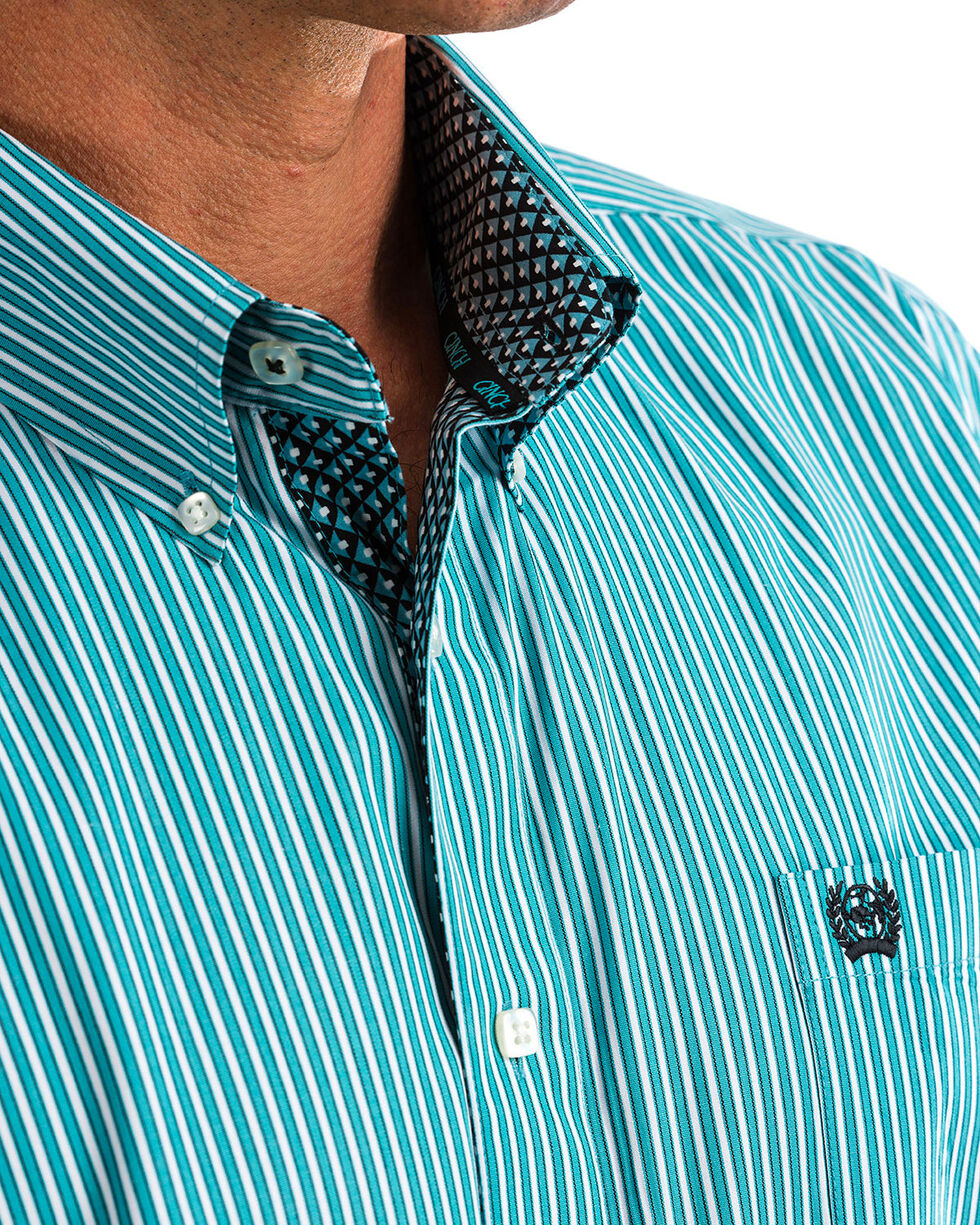 Cinch Men's Turquoise Striped Western Shirt , Blue, hi-res