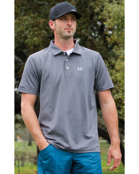 Cinch Men's Heather Grey Solid Spandex Short Sleeve Polo , Hthr Grey, hi-res