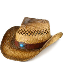 Shyanne® Women's Turquoise Concho Straw Hat, , hi-res