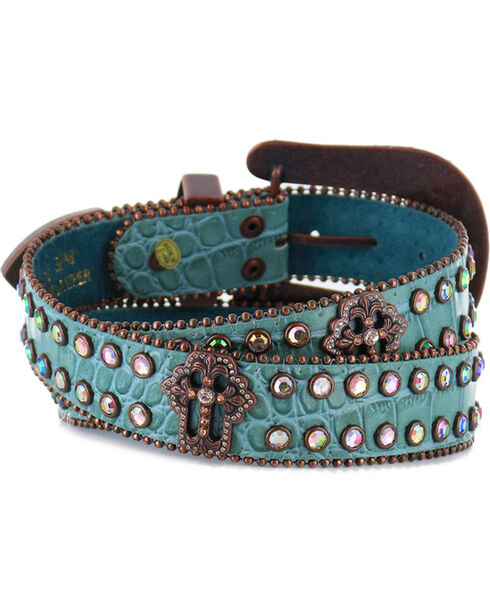 Shyanne® Women's Gator Embossed Belt, Blue, hi-res