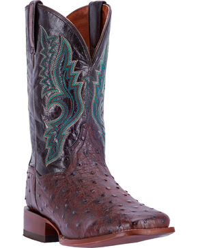 Dan Post Men's Quilled Ostrich Stockman Cowboy Boots - Square Toe, Black, hi-res