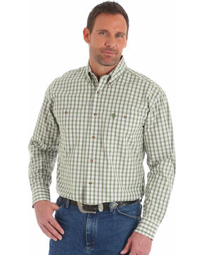 Wrangler George Strait Men's Olive Two Pocket Plaid Shirt , Olive, hi-res