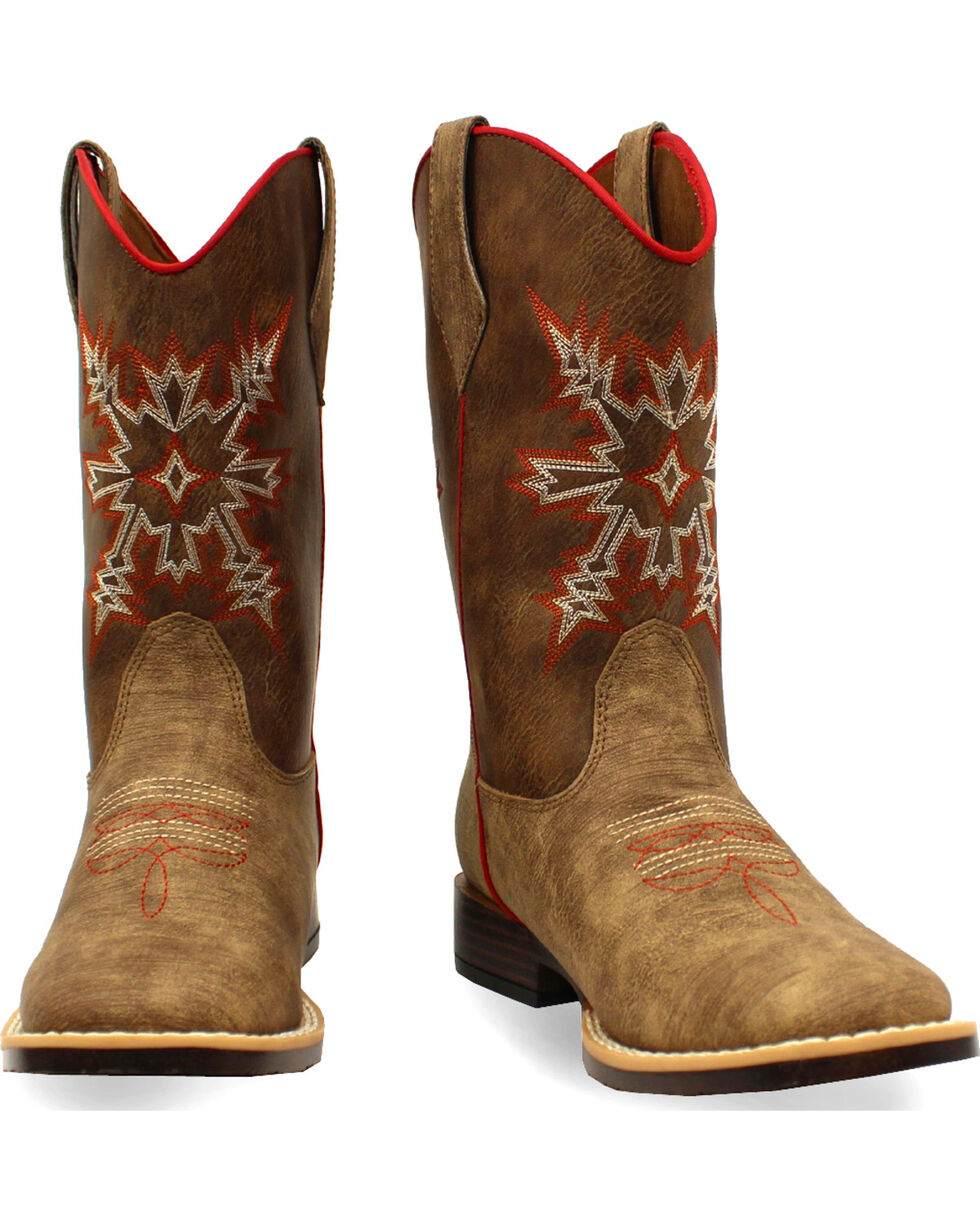 Double Barrel Boys' Clay Western Boots - Square Toe , Medium Brown, hi-res