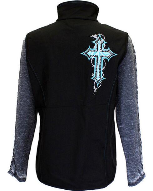 Cowgirl Hardware Women's Cross Bonded Vest, Black, hi-res