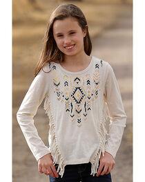 Cruel Girl Girls' Cream Aztec Print Fringe Top , , hi-res