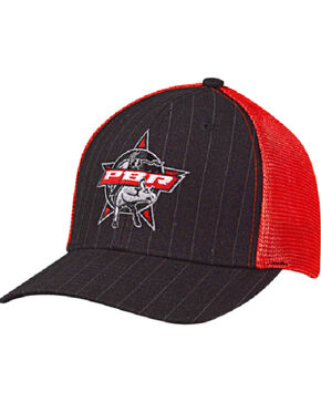 PBR Men's Black Pinstripe Mesh Snap Baseball Cap , Black, hi-res