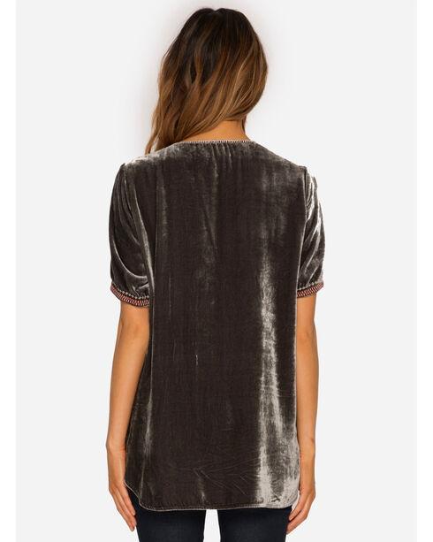 Johnny Was Women's Charcoal Matilda Velvet T-Shirt , Charcoal, hi-res
