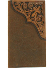 Ariat Men's Tooled Cross Leather Rodeo Wallet , , hi-res