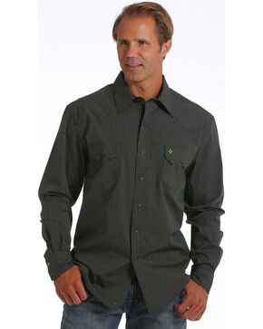Cinch Men's Garth Brooks Striped Long Sleeve Shirt, Black, hi-res