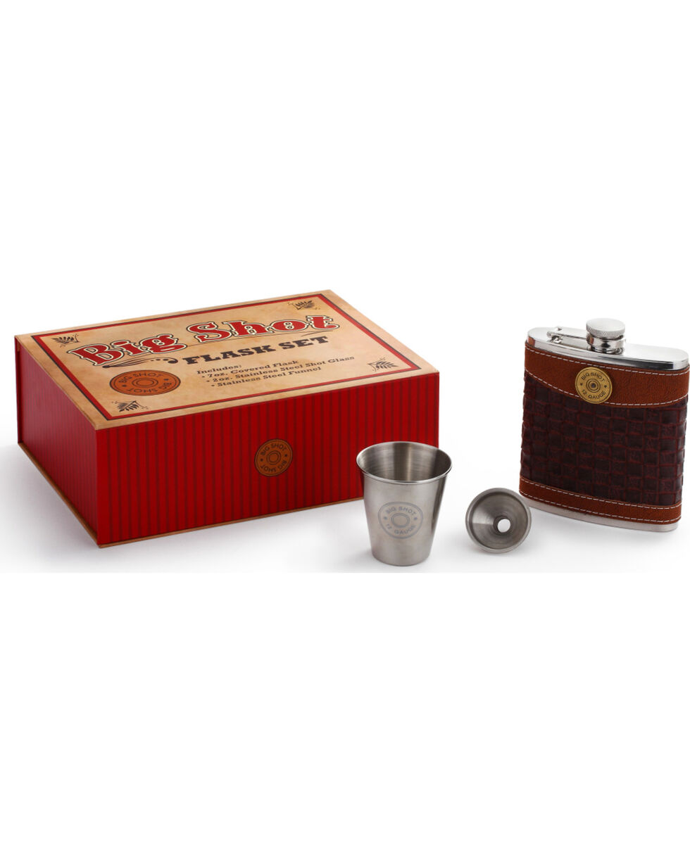 Big Sky Carvers Big Shot Flask Gift Set, Brown, hi-res