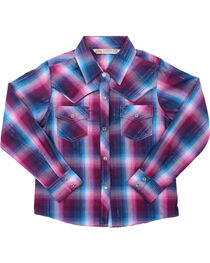 Cumberland Outfitters Girls' Mulberry Plaid Long Sleeve Shirt, , hi-res