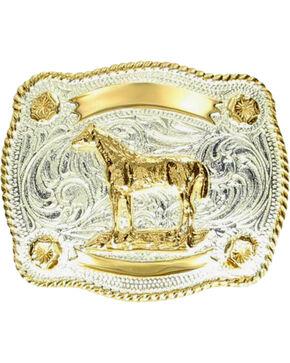M & F Western Kids' Fancy Horse & Banner Belt Buckle, Silver, hi-res