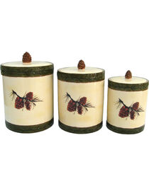 HiEnd Accents 3 PC Pine Cone Canister Set, , hi-res