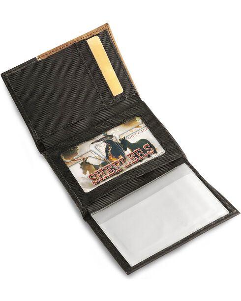 Nocona Black Cross Concho Tri-Fold Leather Wallet, Black, hi-res