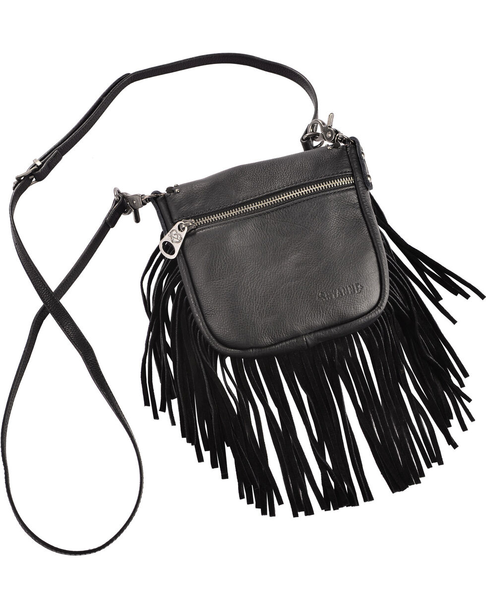 Shyanne® Women's Western Concho Fringe Crossbody Bag, Black, hi-res