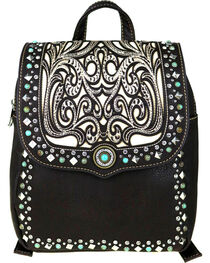 Montana West Women's Boot Scroll Turquoise Concho Backpack, , hi-res