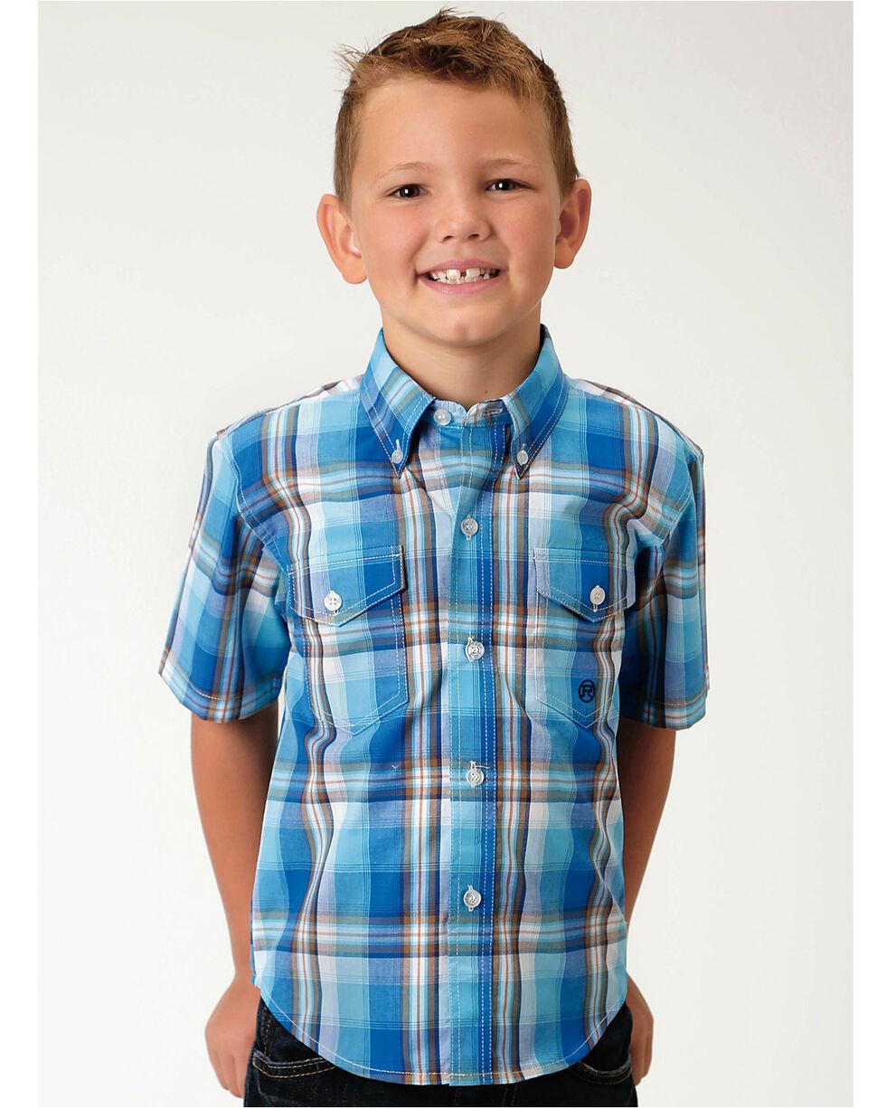Roper Boys' Blue Amarillo Plaid Western Shirt , Blue, hi-res