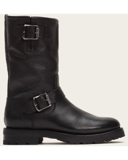Frye Women's Black Natalie Mid Engineer Lug Shearling Boots  , Black, hi-res
