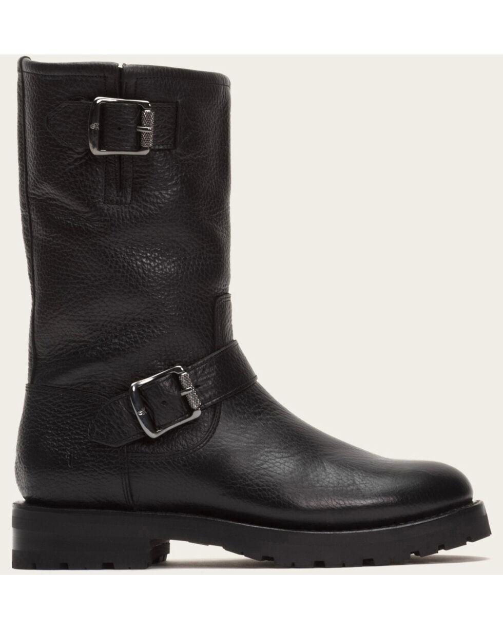 Frye Women's Black Natalie Mid Engineer Lug Shearling Boots  , Black, hi-res