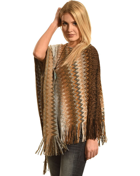 Ryan Michael Women's Saffron Zig-Zag Shawl , Blue, hi-res