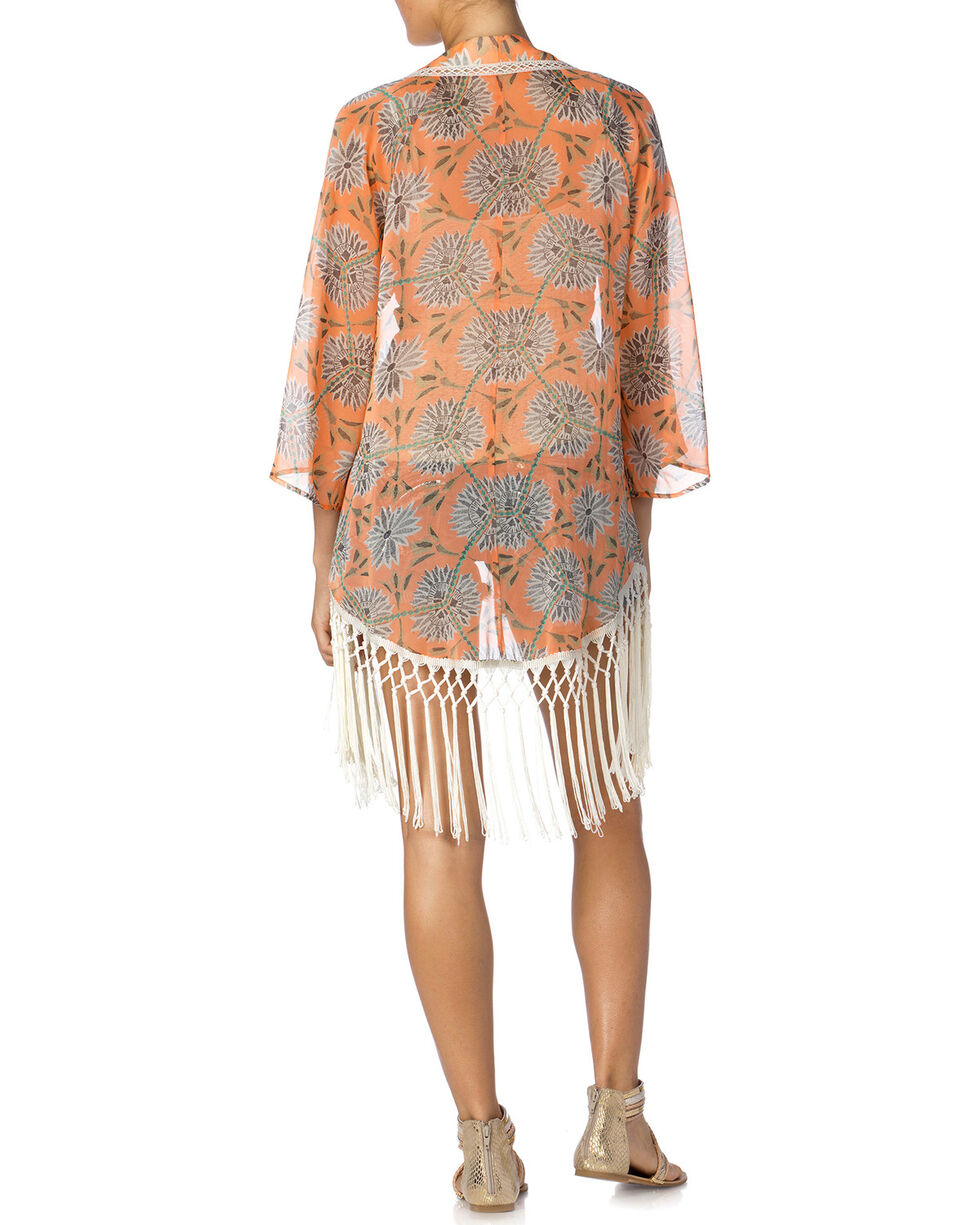 Miss Me Women's Floral Fringe Kimono, Orange, hi-res
