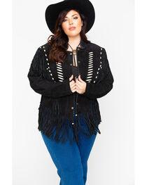 Liberty Wear Bone Bead & Fringe Leather Jacket - Plus, , hi-res