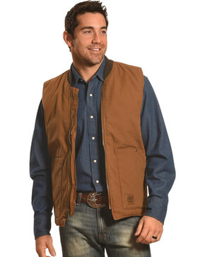 Crazy Cowboy Men's Brown Work Vest - Big and Tall, Brown, hi-res