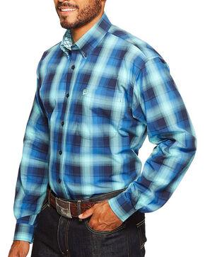 Cinch Men's Plaid Button Down Long Sleeve Shirt, Blue, hi-res