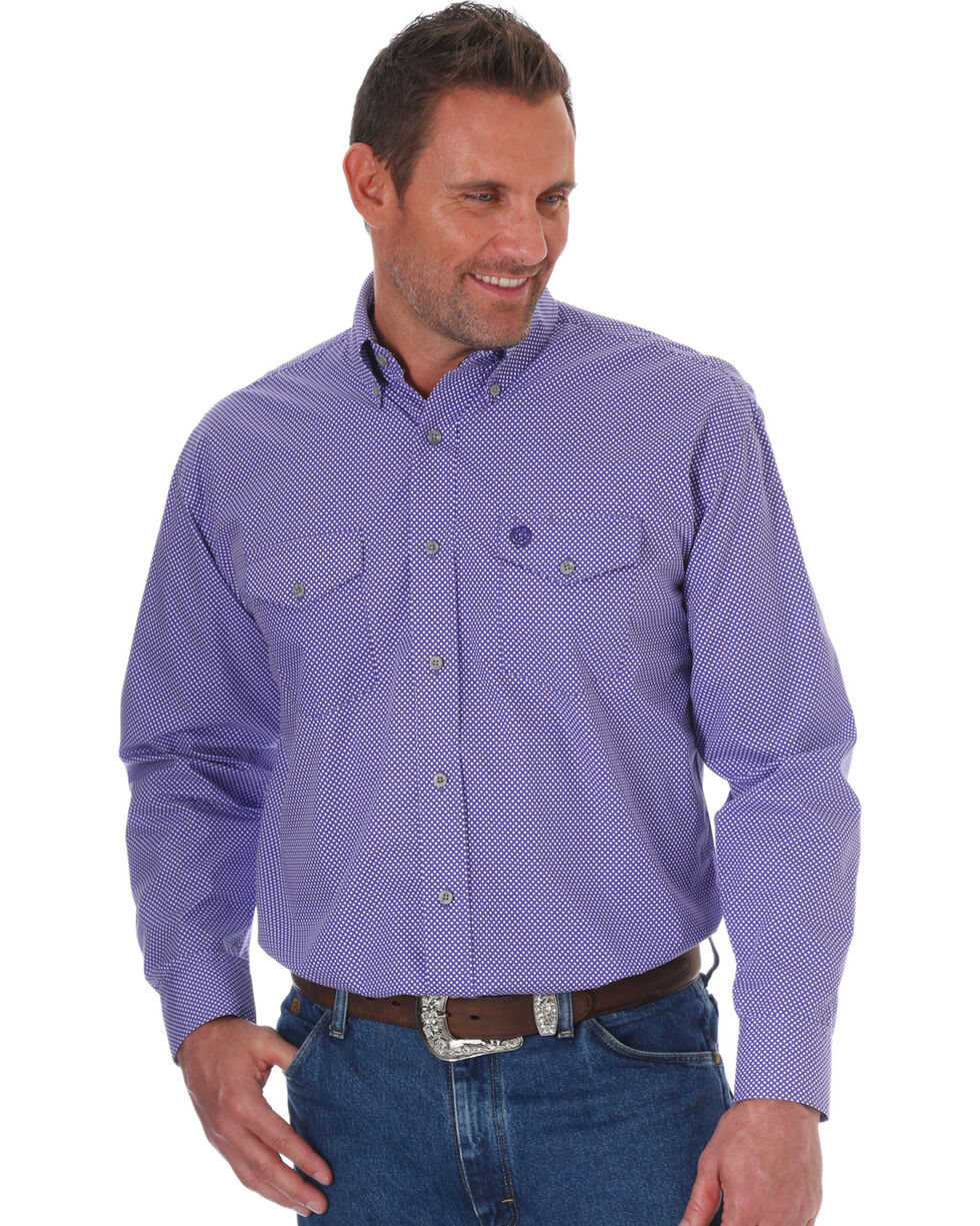 Wrangler George Strait Men's Purple Diamond Print Long Sleeve Button Down Shirt, Purple, hi-res