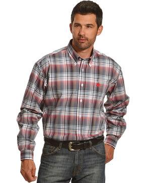 Cinch Men's White Plaid One Pocket Long Sleeve Shirt, White, hi-res