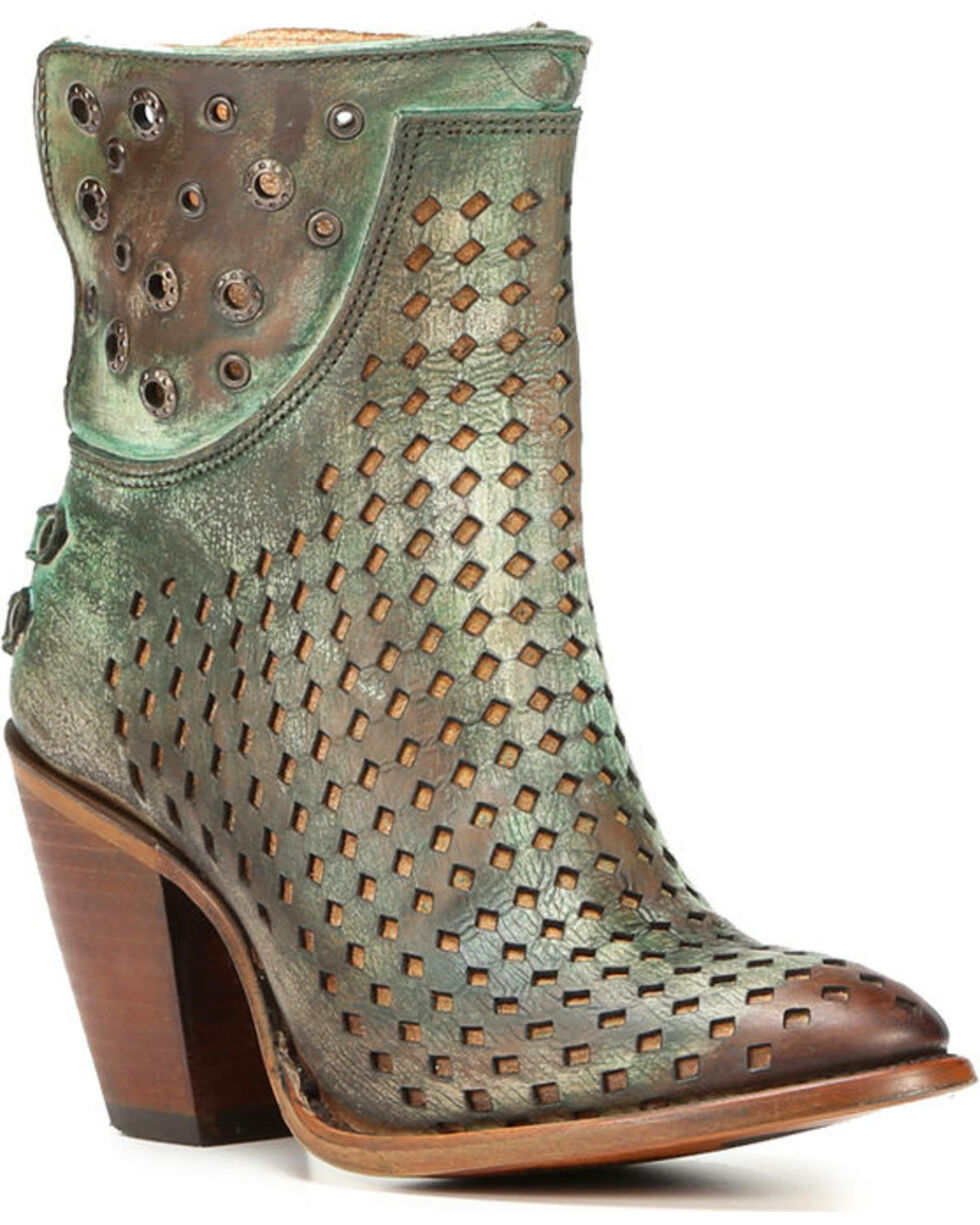 Corral Women's Laser-Cut Ankle Western Boots, Lt Brown, hi-res