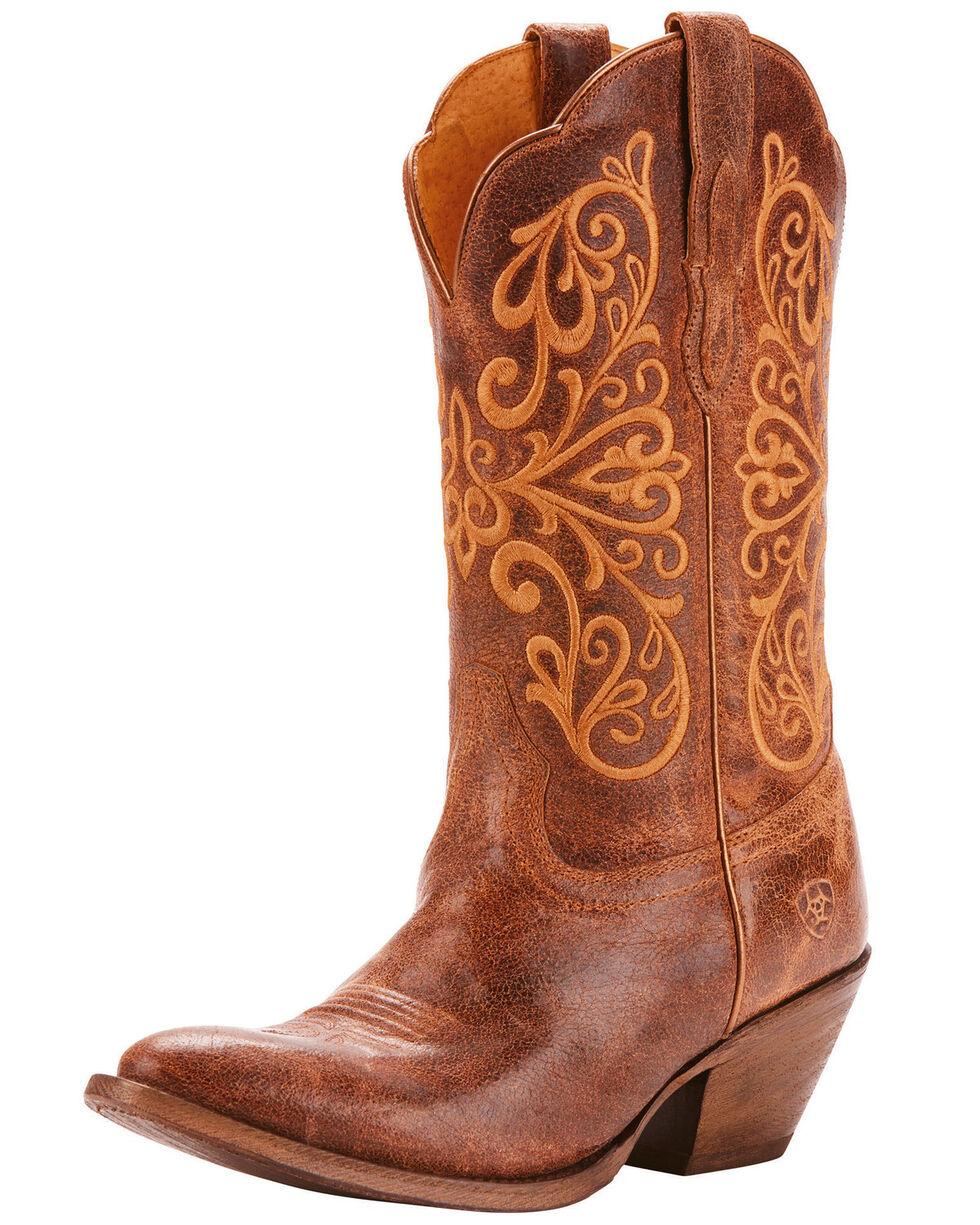 Ariat Women's Terra Bella Full-Grain Leather Western Boots - Medium Toe, Tan, hi-res