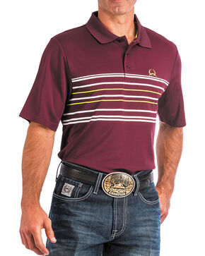 Cinch Men's ArenaFlex Burgundy Tech Polo, Burgundy, hi-res