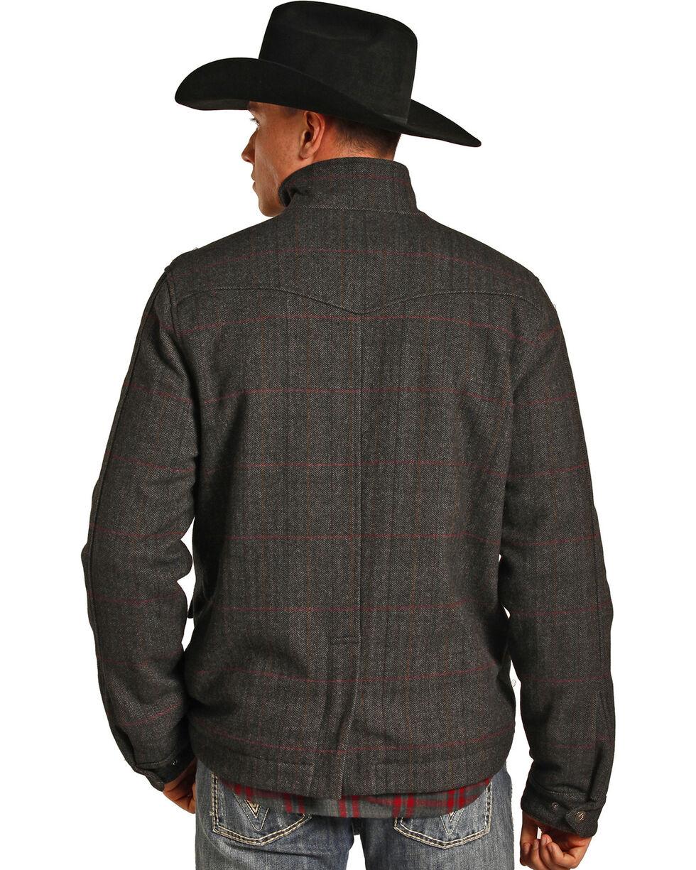Powder River Outfitters Men's Grey Herringbone Plaid Wool Coat , , hi-res