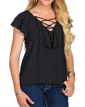 Golden Touch Women's Ruffle Tie-Up Top, Black, hi-res