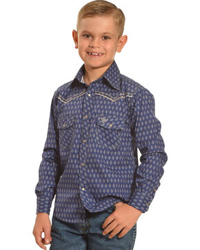 Cowboy Hardware Boys' Navy Dashed Diamond Print Shirt , Navy, hi-res