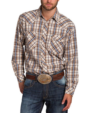 Resistol Double Men's Cowley Plaid Long Sleeve Shirt, Tan, hi-res