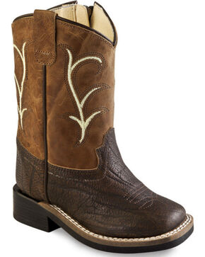 Old West Toddler Boys' Brown Leather Boots - Square Toe, Brown, hi-res