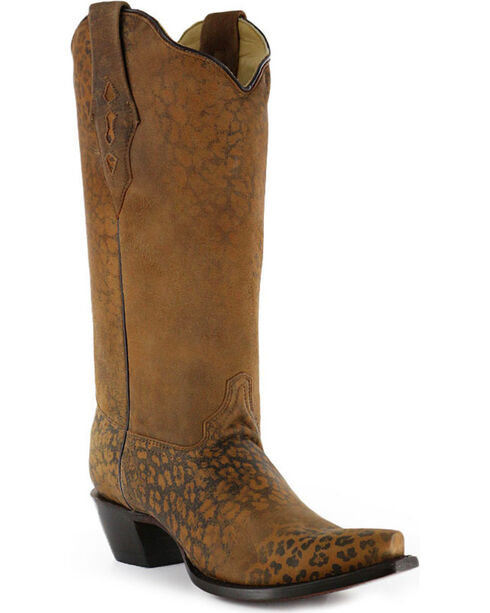 Corral Women's Distressed Leopard Print Boots, Cheetah, hi-res