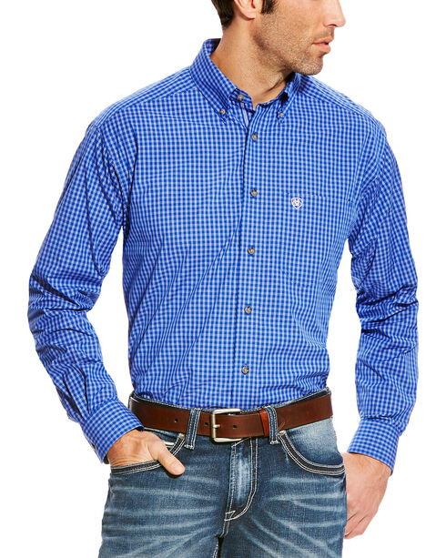 Ariat Men's Blue Pro Series Barado Plaid Western Shirt , Blue, hi-res