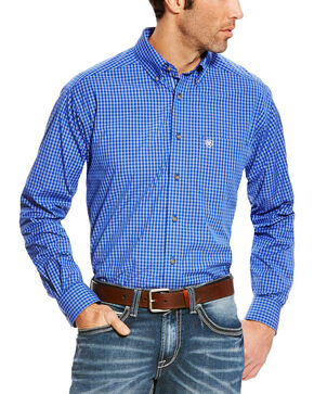 Ariat Men's Blue Pro Series Barado Plaid Western Shirt - Tall , Blue, hi-res