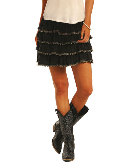 Rock and Roll Cowgirl Women's Ruffled Skirt, Black, hi-res