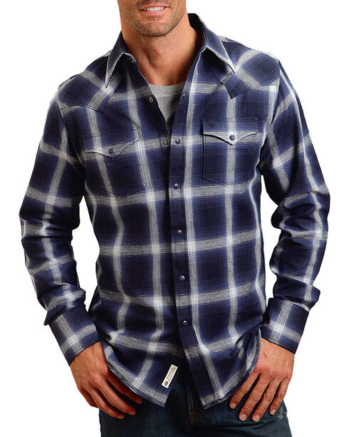 Stetson Men's Royal Plaid Long Sleeve Shirt , Navy, hi-res