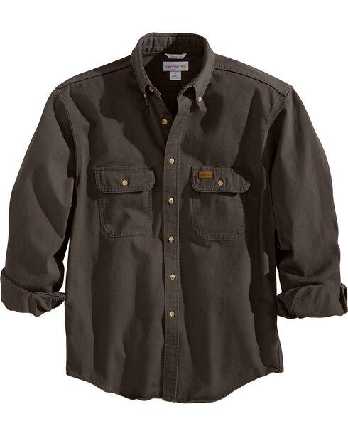 Carhartt Sandstone Twill Work Shirt, Dark Brown, hi-res