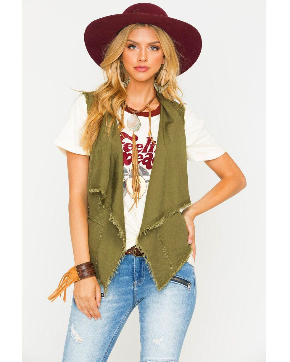 Tractr Blu Women's Olive Waterfall Vest , Olive, hi-res